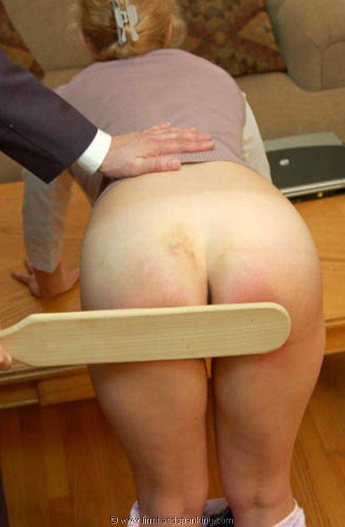 Bare bottom her spank